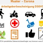 Muster Arbeitgeberbescheinigung  Pandemie Ausgangssperre Corona Passierschein Datenschutz