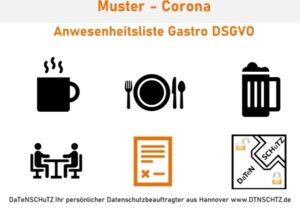 Kostenloses Muster Gastronomie Anwesenheit Corona